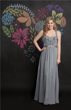 US$141.99 2016 Ruched Floor Length Criss Cross A-line Straps Chiffon Gray Sleeveless