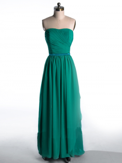 US$168.99 2015 Strapless Zipper Green Chiffon Sleeveless Ruched Floor Length