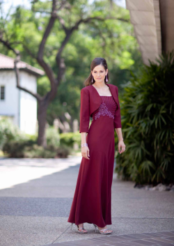 US$167.99 2015 Straps Burgundy Jacket Appliques Beading Sleeveless Chiffon Floor Length
