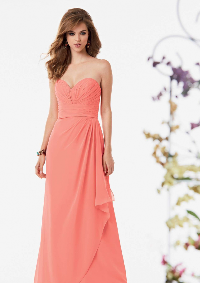 US$138.99 2015 Sweetheart Blush Sleeveless Ruched Chiffon Floor Length