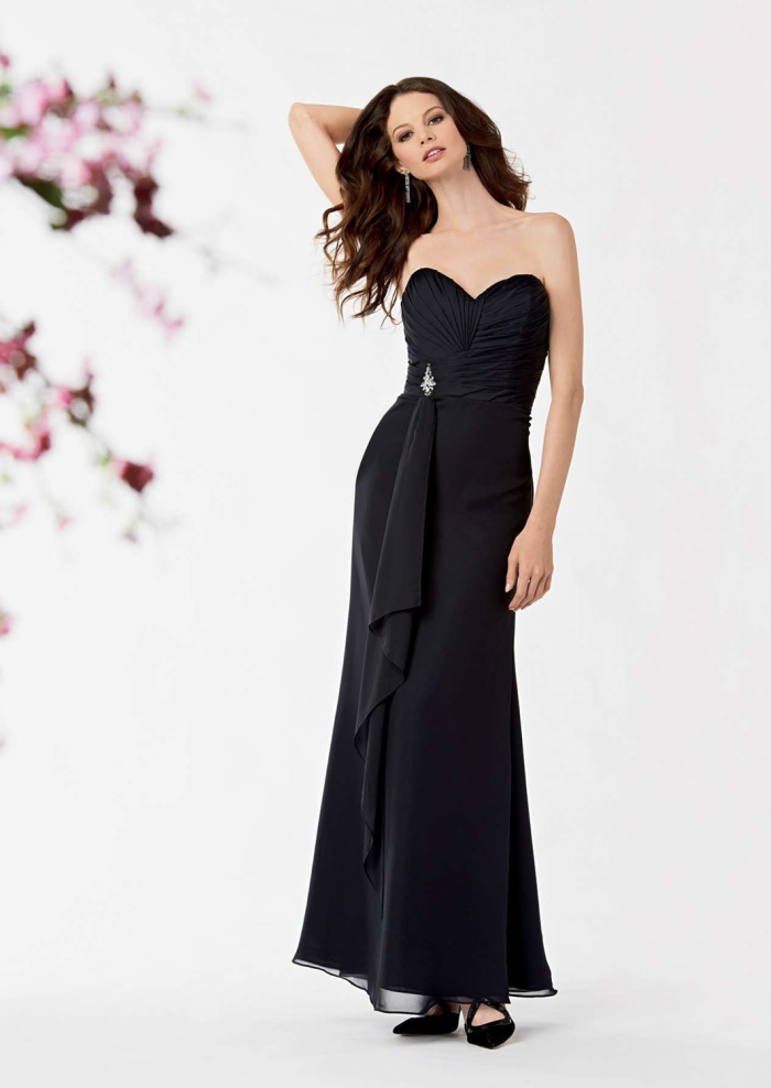US$138.99 2015 Sweetheart Sleeveless Black Ruched Chiffon Floor Length