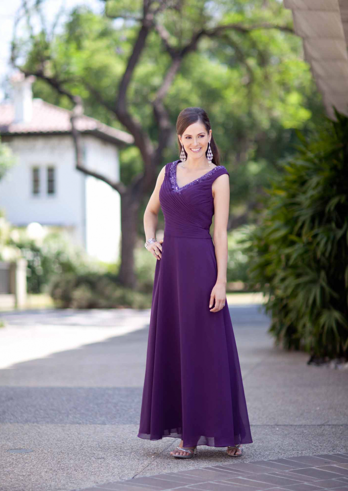 US$167.99 2015 V-neck Purple Sleeveless Chiffon Floor Length Ruched