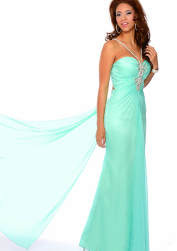 US$183.99 2015 White Blue Beading Open Back Ruched Sleeveless Straps Floor Length Chiffon