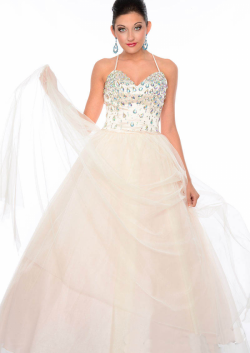 US$193.99 2015 White Blue Spaghetti Straps Sleeveless Crystals Criss Cross Tulle Floor Length Ba ...