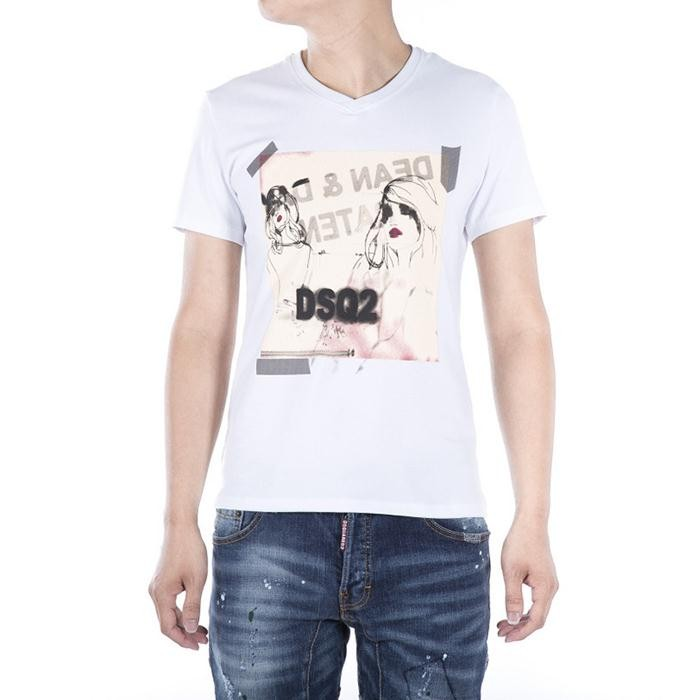 Dsquared2 Men D142 DSQ Lady Short Sleeves T-Shirt White