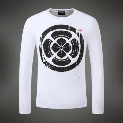 Dsquared2 Men DL03 Floral Print Long Sleeves T-Shirt White