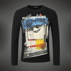 Dsquared2 Men DL04 Grafitti Print Long Sleeves T-Shirt Black