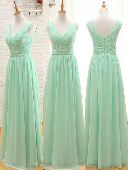 For Less Chiffon Floor-length Ruffles Sage V-neck Bridesmaid Dresses in UK