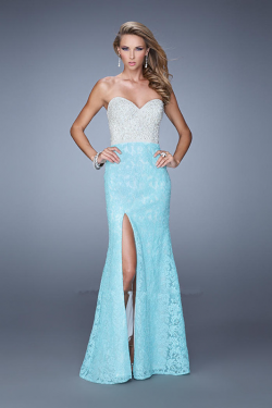 US$157.99 2015 Open Back Floor Length Blue Lace Ruched Split Front Sweetheart Sleeveless