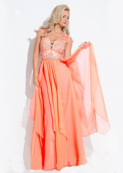 US$145.99 2015 V-neck Ruched Chiffon Cap Sleeves Appliques Floor Length Blue Orange