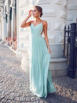 A-line V-neck Chiffon Floor-length Ruffles Hot Backless Prom Dresses in UK