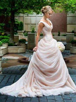 A-line V-neck Organza Court Train Pick-Ups Covered Button Different Wedding Dresses in UK