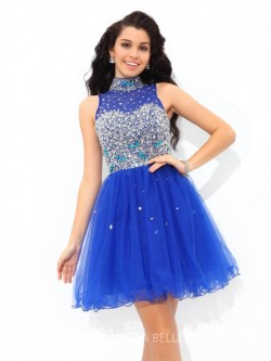 A-Line/Princess High Neck Sleeveless Short/Mini Beading Net Cocktail Dresses – Short Prom  ...