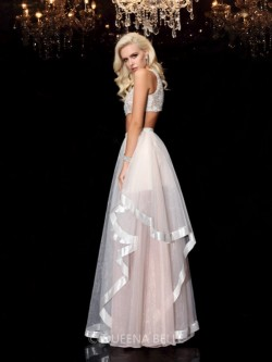 A-Line/Princess Scoop Applique Sleeveless Floor-Length Organza Dresses – Prom Dresses 2017 ...