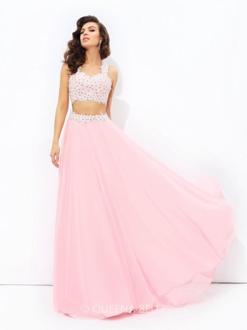 A-Line/Princess Straps Applique Sleeveless Floor-Length Chiffon Dresses – Prom Dresses 201 ...