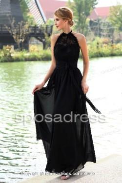 Alluring Halter Backless Empire Waist Black Prom Dress – Sposadress.com