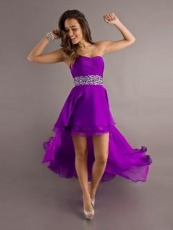 Chic A-line Sweetheart Asymmetrical Chiffon Dress with Ruffles