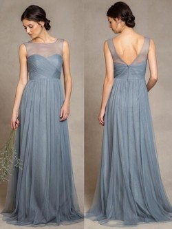 Discounted Scoop Neck Tulle Ruffles Sweep Train Bridesmaid Dress in UK