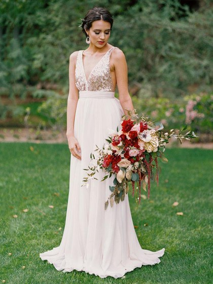 Hot A-line V-neck Chiffon Sweep Train with Sequins Backless Wedding Dresses in UK