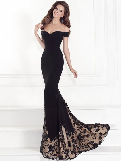 Off-the-shoulder Black Tulle Silk-like Satin Appliques Lace Trumpet/Mermaid Prom Dresses in UK