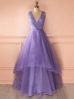 Princess V-neck Organza Floor-length Tiered Affordable Prom Dresses in UK