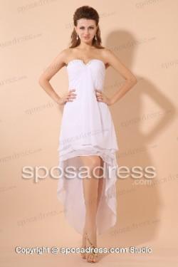 Pure White Strapless Asymmetrical Chiffon Summer Prom Dress – Sposadress.com