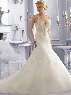 Trumpet/Mermaid Open Back Ivory Organza Appliques Lace Halter Wedding Dresses in UK