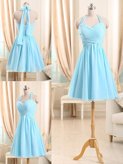 Popular Chiffon Ruffles Short/Mini Halter Light Sky Blue Bridesmaid Dresses in UK