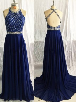 Scoop Neck Chiffon Sweep Train Beading Backless Dark Navy Prom Dress in UK