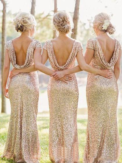 Sheath/Column Scoop Neck Sequined Short Sleeve Backless Bridesmaid Dresses in UK