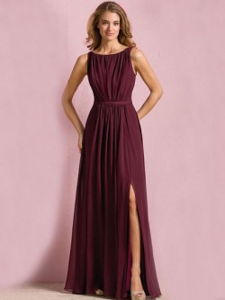 Wholesale Scoop Neck Floor-length Chiffon Split Front Bridesmaid Dress in UK