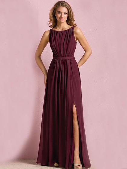 Wholesale Scoop Neck Floor-length Chiffon Split Front Bridesmaid Dress in UK