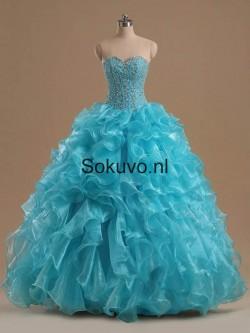Blauw Liefje Organza Quinceanera Jurken – Sokuvo.NL