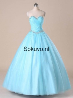 Blauw Liefje Tulle Quinceanera Jurken – Sokuvo.NL