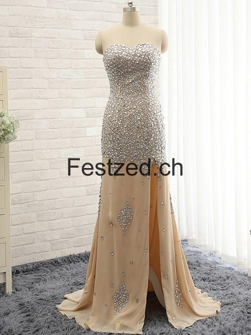 Champagner Mantel/Spalte Herzausschnitt Chiffon Abendkleider – Festzed.CH