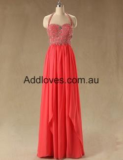 Fabulous A-Line Halter Watermelon Long Prom Dresses at addloves.com.au