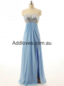 Glorious A-Line Long Blue Chiffon Prom Dresses at addloves.com.au