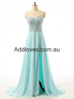 Simple A-Line Floor-Length Sweetheart Blue Chiffon Prom Dresses at addloves.com.au