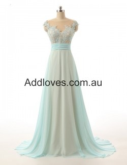 Tempting A-Line Floor-Length Scoop Chiffon Prom Dresses at addloves.com.au