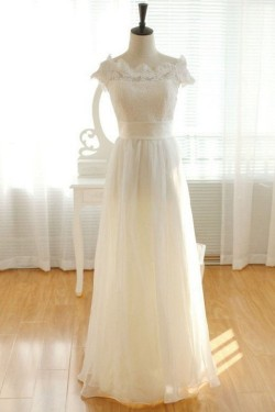 A-line Bateau Floor Length Chiffon Lace Beach Bridal Wear [VIVIDRESS1171] – R2158 : vividr ...