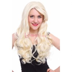 65cm Long Beige Wave Curly Lace Front Wig LC72 – L-email Cosplay Wig