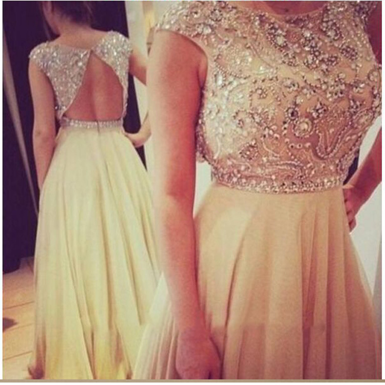 Gorgeous Sequins Beading Crystals Evening Gown A Line Chiffon Backless Prom Dresses
