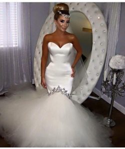 Sexy Sweetheart Backless Mermaid Wedding Dresses Sequins Beaded Tulles Skirt Bridal Gown