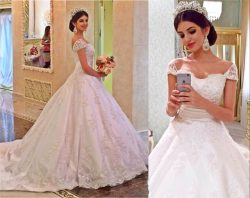 Elegant Off the Shoulder Satin A Line Wedding Dresses Lace Appliques Cap Sleeves Court Train Bri ...