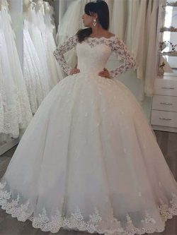 Vestidos de novia Long Sleeves Princess Ball Gown Wedding Dresses Lace Appliques Bateau Button B ...