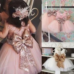 Adorable Crew Neckline Tutu Skirt Wedding Flower Girls Dresses Lace Top Big Bow Princess Ball Gowns