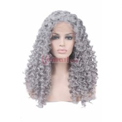 Long Curly Wave Silver Lace Human Hair Wigs – L-email Cosplay Wig