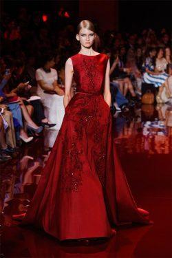 Fancy A Line Satin Elie Saab Runway Prom Dresses Crew Neckline Lace Appliques Sequins Backless E ...