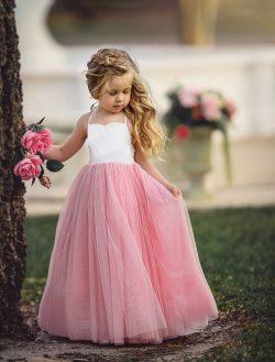 Beautiful Pink Tulle Skirt Flower Girls' Dresses Spaghetti Straps Floor Length Little Girl ...