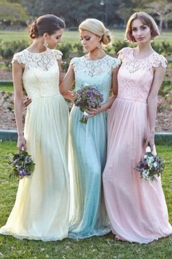 Charming Lace A Line Long Bridesmaid Dresses Cap Sleeves Floor Length Summer Beach Prom Gown